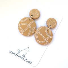 Gold Drop Statement Earrings - Round Rope