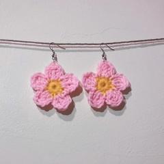 Flower earrings - Pink & yellow