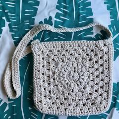Crochet Handbag   Beige Sunflower   Recycled Cotton