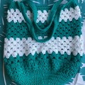 Crochet | Market Bag | Green & White Stripe