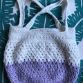 Small Crochet Handbag | Lilac & White | Cotton