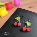 Cherry Duo Drop Earrrings (Red) - Handmade Kawaii Fruit