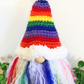 Rainbow Gnome with Striped Hat
