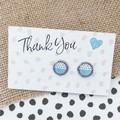 Glass dome stud earrings Black and white dots on blue