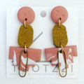EMPIRE Collection (Dusty Pink) Statement Drop Stud Dangles with Leather + Brass