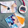 WATERCOLOUR ABSTRACT GIFT CARD POUCH, set of 2
