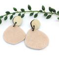 Creek pebble earrings, Rose gold  Leather earrings