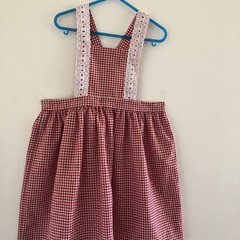 White and red pinafore size 6