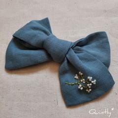Linen Bow Barrette Clip