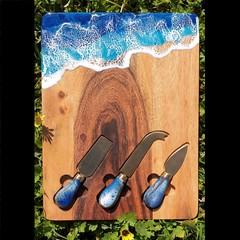 Acacia and Resin Cheeseboard and Knife Set