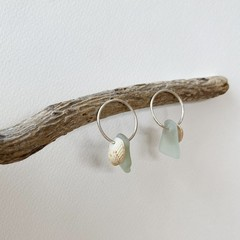 Sea shell & sea glass hoop stud earrings