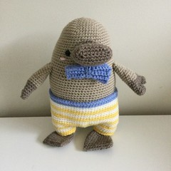 Pete the Platypus - crocheted, knitted softie