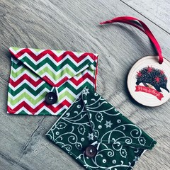CHRISTMAS COLOURS GIFT CARD POUCH, set of 2