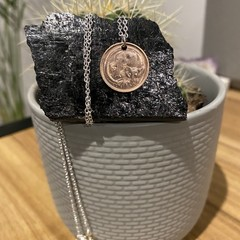 """Australian One cent Coin Necklace, 925 chain 18"""""""