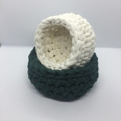 Green and White Crochet Baskets