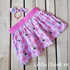 Pink Frozen Skirt (Size 4) & Matching Knot Hair Tie