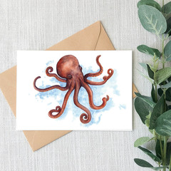 Octopus Watercolour Artist Greeting Card, Blank Inside, A6 size, Ocean Life