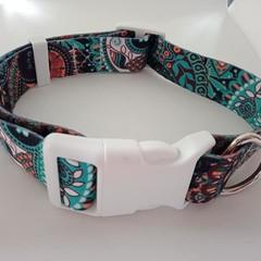 Green blue and orange floral print adjustable dog collars