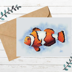 Clownfish Watercolour Artist Greeting Card, Blank Inside, A6 size, Ocean Life