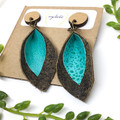 Springtime petals, turquoise Leather earrings