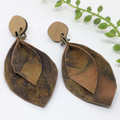 Autumn Leaves, naturally dyed Leather earrings