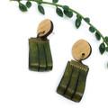 Moss green leather earrings