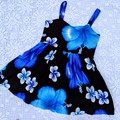 Island Blue and Black Tie Back Dress, Size 4 only