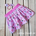 Pink Frozen Skirt (Size 4) & Matching Knot Hair Tie