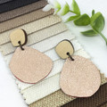 Creek pebble earrings, Rose gold  Leather earrings