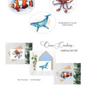 Ocean Creatures Set of 6 Art Greeting Cards, Blank Inside, A6 size, Ocean Life