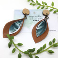 Spring petals, tan Leather earrings with botanical canvas