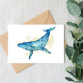 Humpback Whale Watercolour Artist Greeting Card, Blank Inside, A6 size