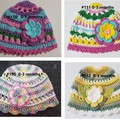 Crocheted Girl's Hats for 0-3 months
