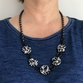 Abstract statement polymer clay black and white necklace