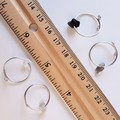 Simple small gemstone chip stainless steel wire ring , Size adjustable