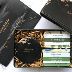 Lux Marble Gift Black: 1 candle + 2 soaps + 1 matching gift bag + 1 marble tin