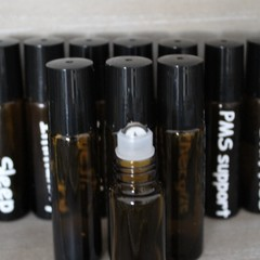 Set of 4 custom labeled essential oil rollerballs