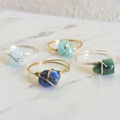 Dainty Gemstone wire wrapped ring , Lapis Lazuli Amazonite Jade Aquamarine