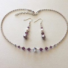 Swarovski Pearl Earring & Crystal Necklace Set: Lana & L'Argent