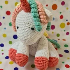 Hand-Crocheted Cotton Baby Unicorn