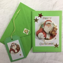 Green 'Very Special' Xmas Card with Santa in a Circle +Matching Envelope & Gift