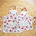 Mummy & Me Vintage Aprons - girls size - Red Protea Floral