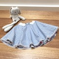 Kid's skater full circle skirt in blue gingham & paisley print  size 3