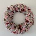 Handmade Christmas wreath for sale in red, white and natural burlap