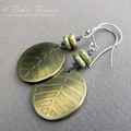Etched Brass and Czech Glass Earrings