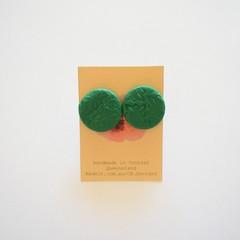 Dark Green embossed lrg polymer clay stud earrings