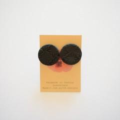 Black embossed lrg polymer clay stud earrings