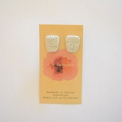 Silver shimmer polymer clay stud earrings