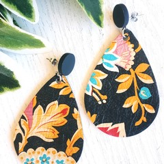 Studded Teardrop, Clay /Genuine Leather Stud Earrings, Black, Floral