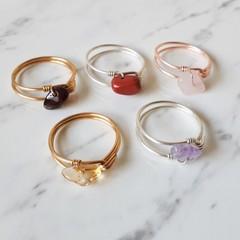 Dainty Gemstone loop wire ring , Red Jasper Citrine Rose Quartz Amethyst Garnet